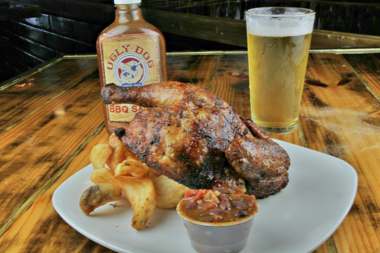 Ugly platter with smoked chicken and beer
